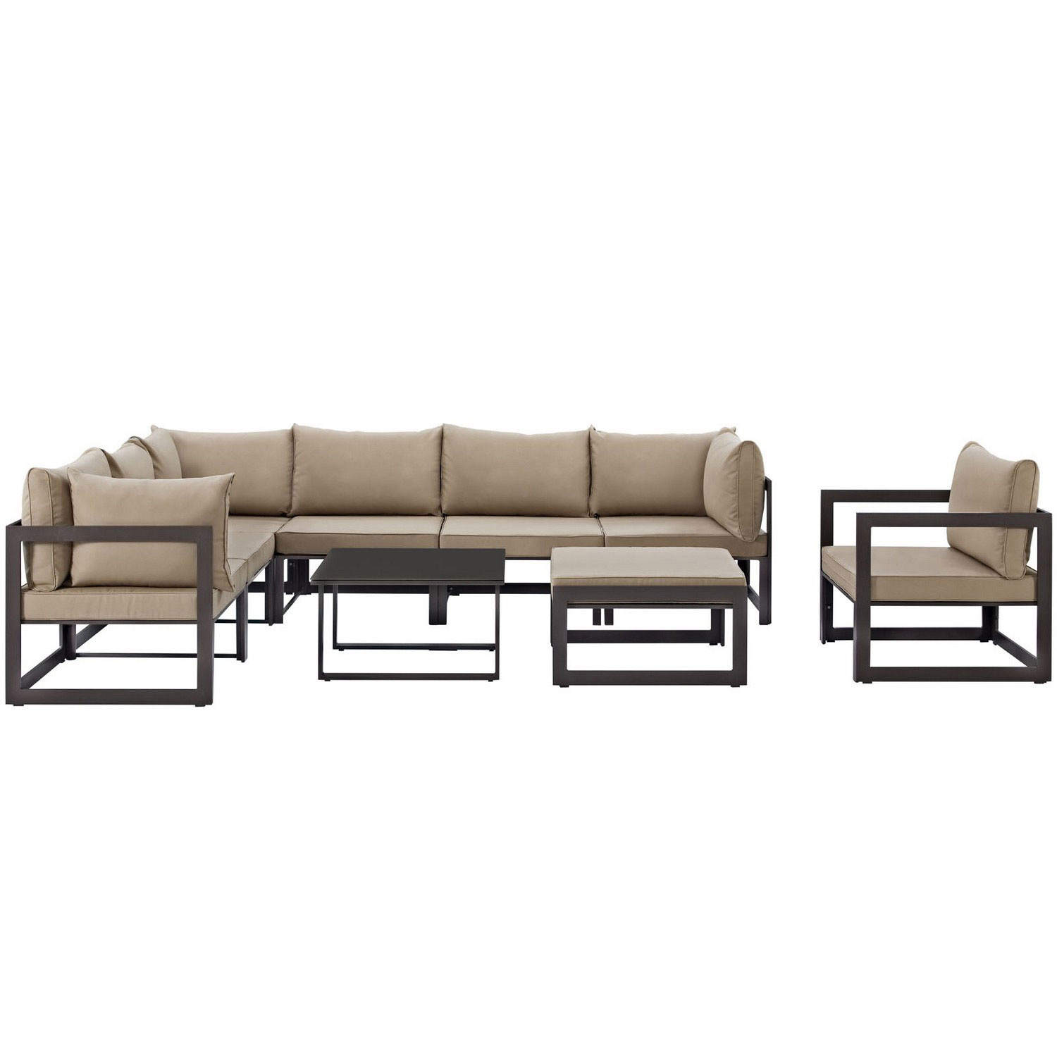 Modway Fortuna 9 Piece Outdoor Patio Sectional Sofa Set - Brown/Mocha