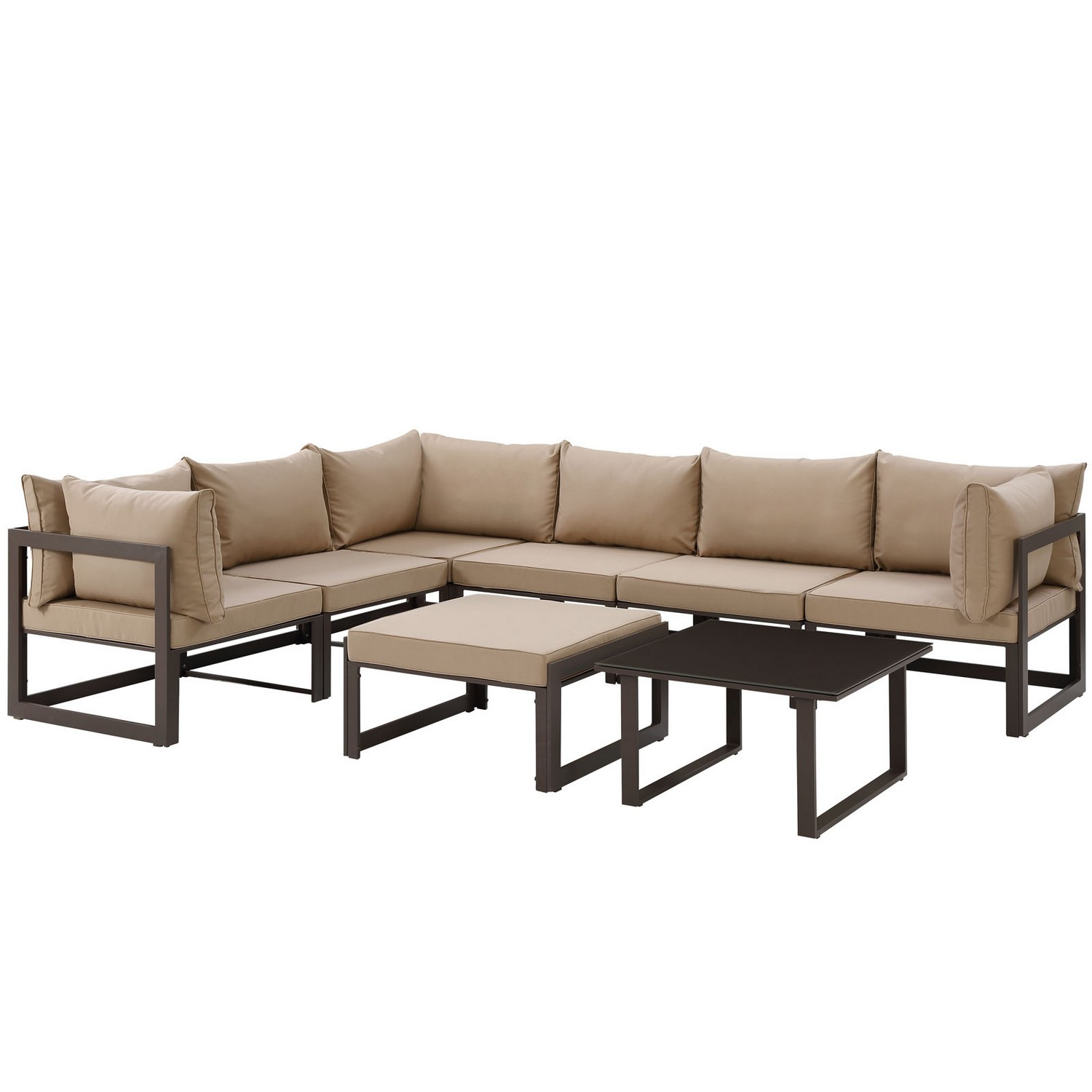 Modway Fortuna 8 Piece Outdoor Patio Sectional Sofa Set - Brown/Mocha