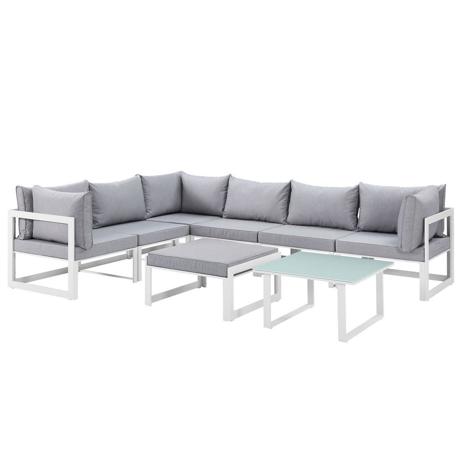 Modway Fortuna 8 Piece Outdoor Patio Sectional Sofa Set - White/Gray