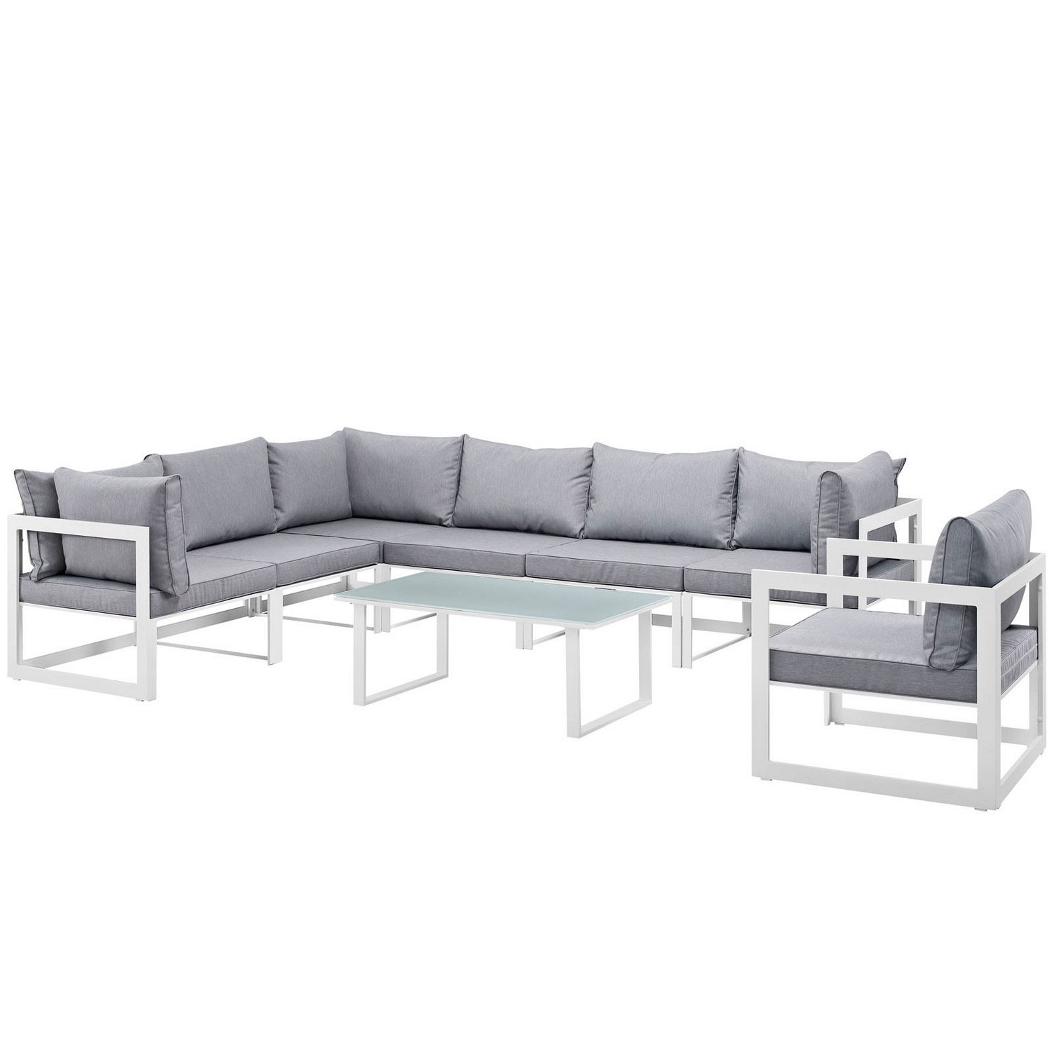 Modway Fortuna 8 Piece Outdoor Patio Sectional Sofa Set White