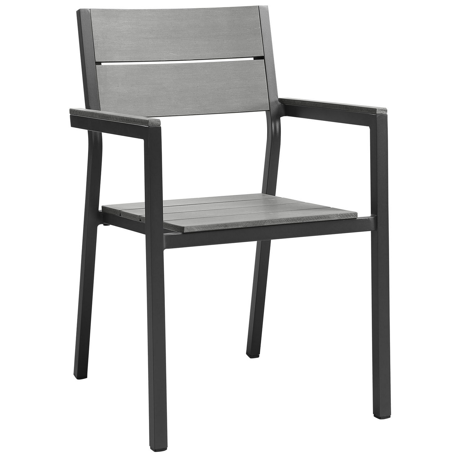 Modway Maine Dining Armchair Outdoor Patio Set of 2 - Brown/Gray