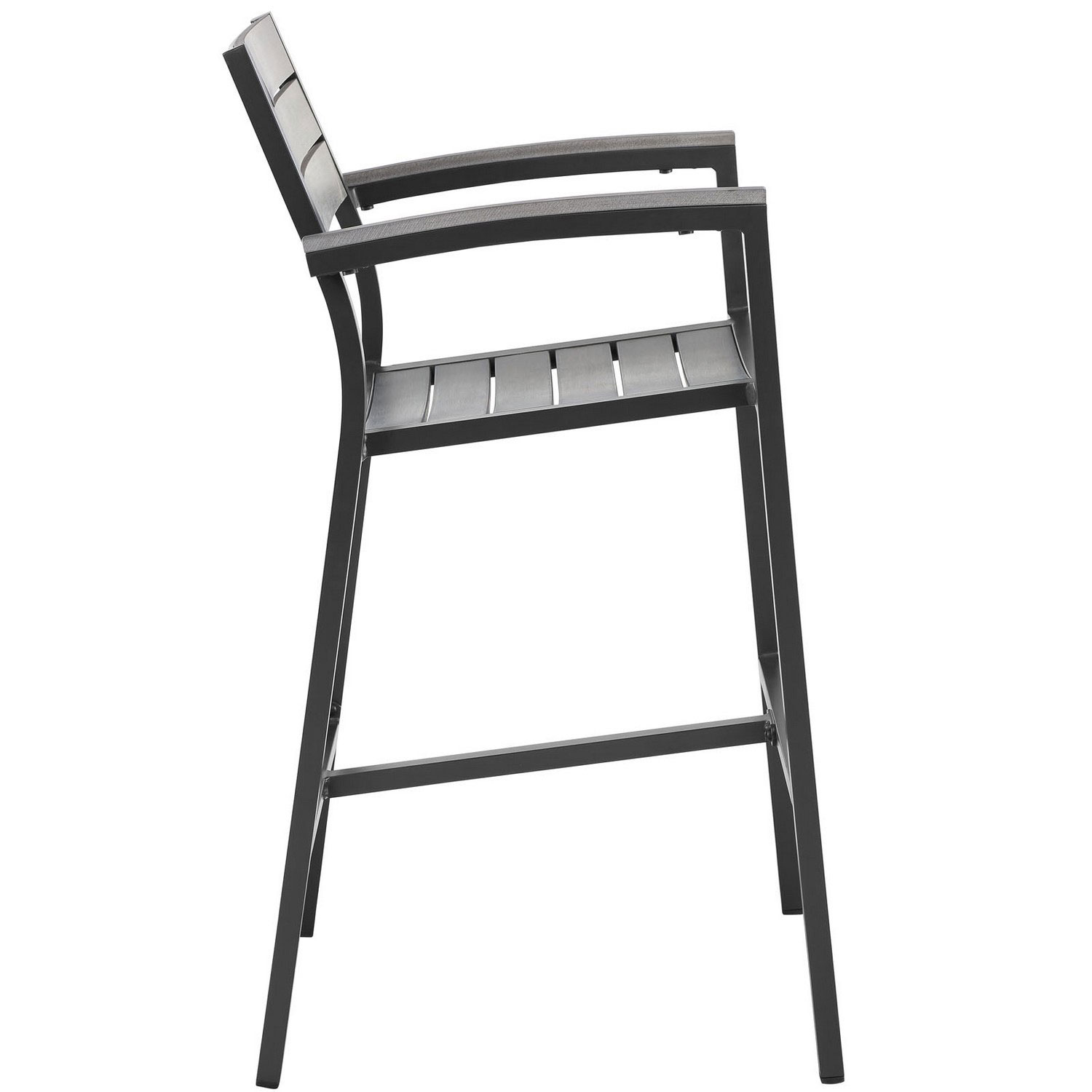 Modway Maine Bar Stool Outdoor Patio Set of 2 - Brown/Gray