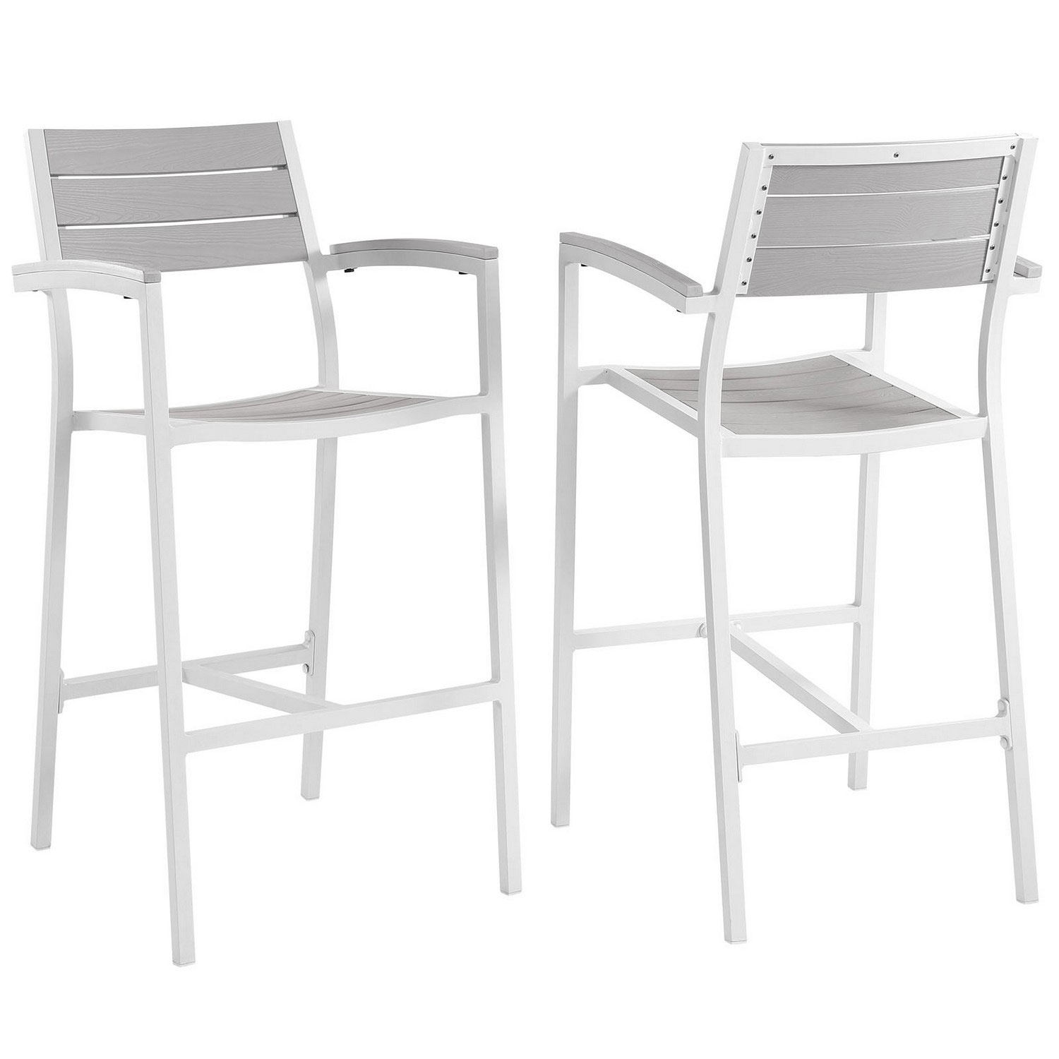 Modway Maine Bar Stool Outdoor Patio Set of 2 - White/Light Gray