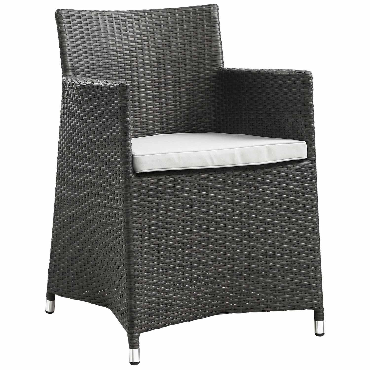 Modway Junction 3 Piece Outdoor Patio Wicker Dining Set - Brown/White