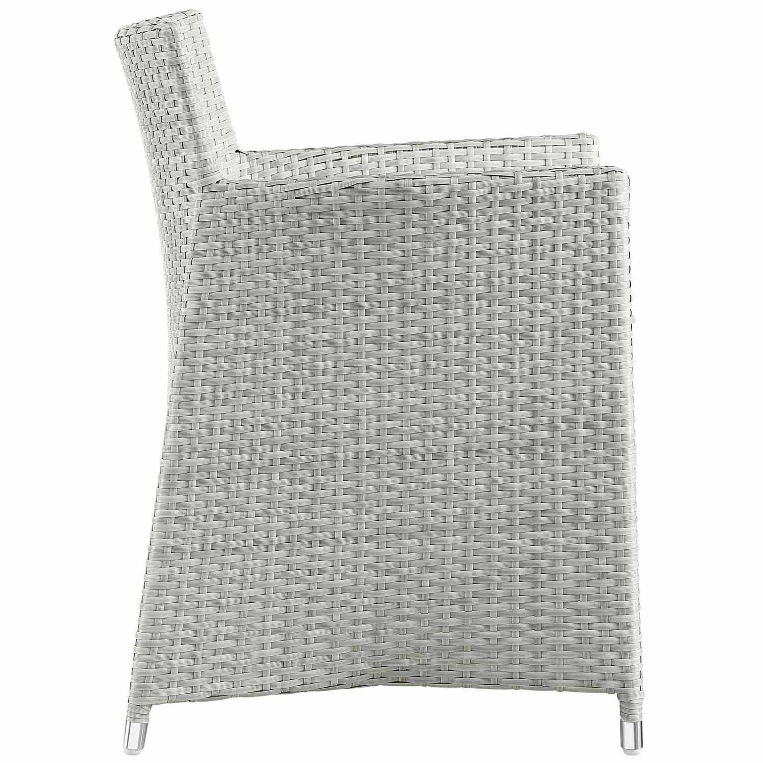 Modway Junction 3 Piece Outdoor Patio Wicker Dining Set - Gray/White
