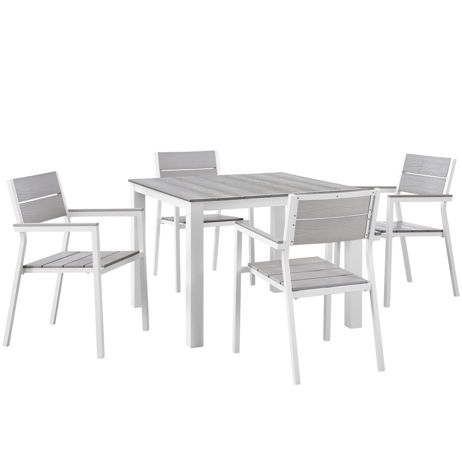 Modway Maine 5 Piece Outdoor Patio Dining Set - White/Light Gray