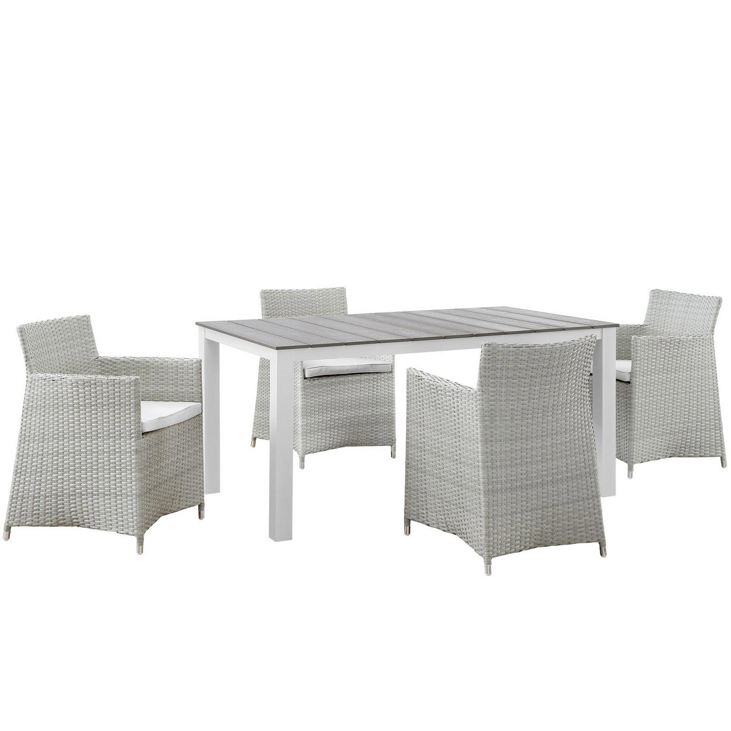 Modway Junction 5 Piece Outdoor Patio Dining Set - Gray/White