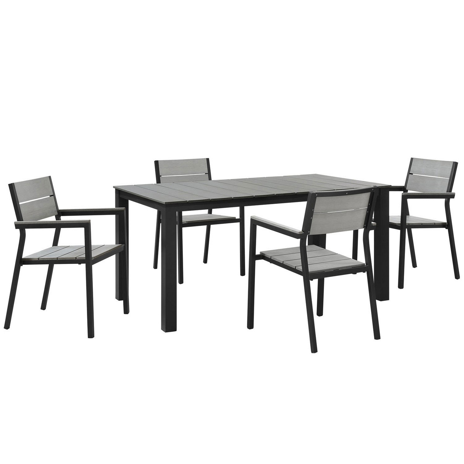 Modway Maine 5 Piece Outdoor Patio Dining Set - Brown/Gray