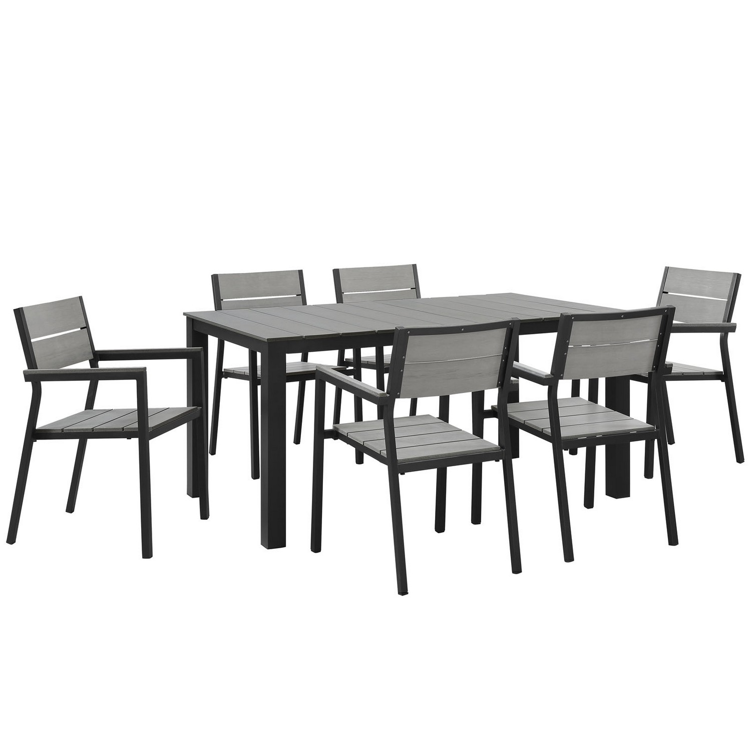 Modway Maine 7 Piece Outdoor Patio Dining Set - Brown/Gray
