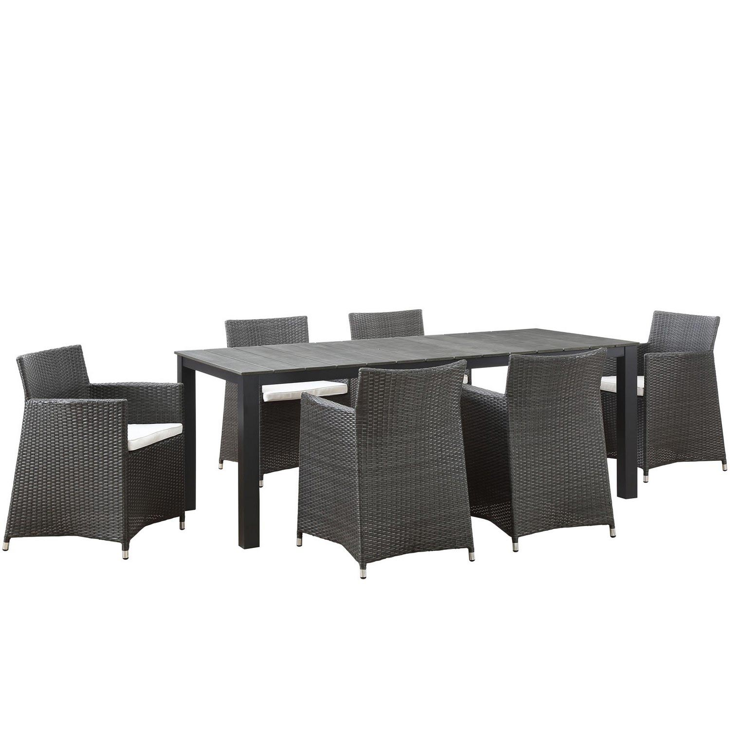 Modway Junction 7 Piece Outdoor Patio Dining Set - Brown/White