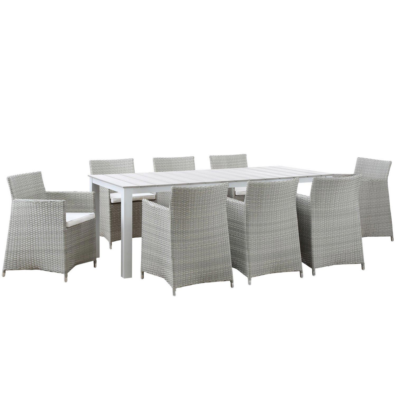 Modway Junction 9 Piece Outdoor Patio Dining Set - Gray/White