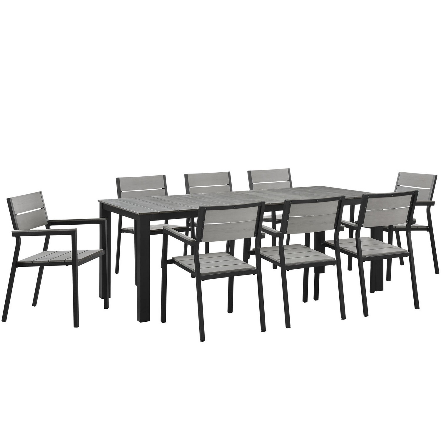Modway Maine 9 Piece Outdoor Patio Dining Set - Brown/Gray