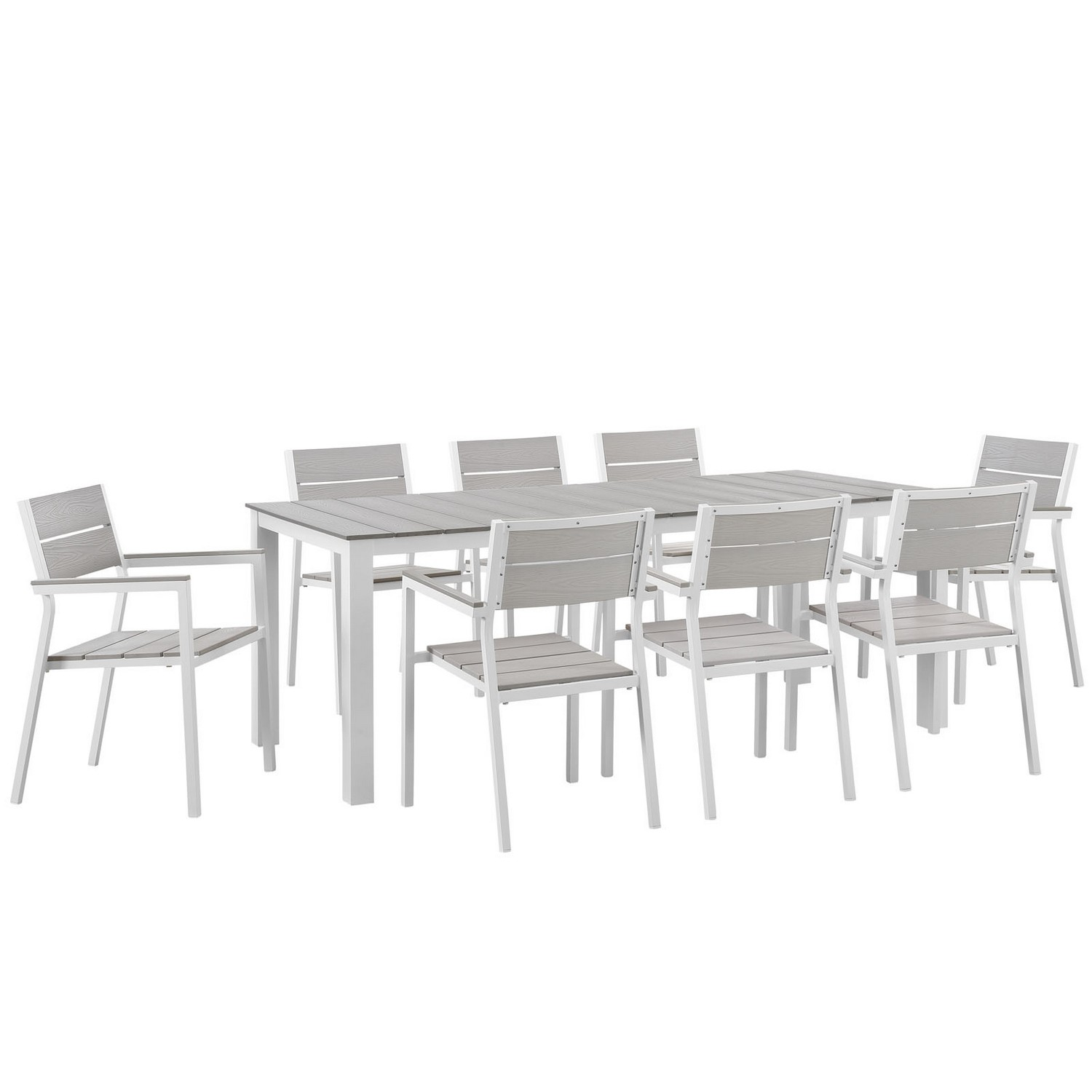 Modway Maine 9 Piece Outdoor Patio Dining Set - White/Light Gray