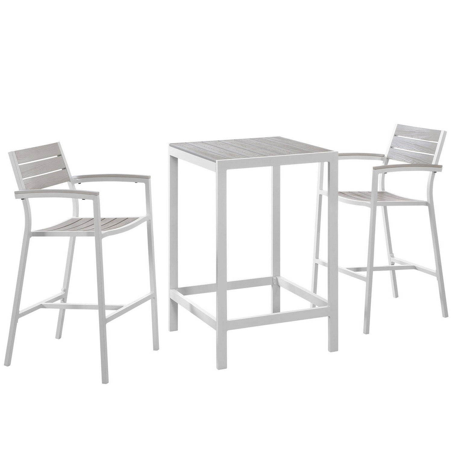 Modway Maine 3 Piece Outdoor Patio Dining Set - White/Light Gray