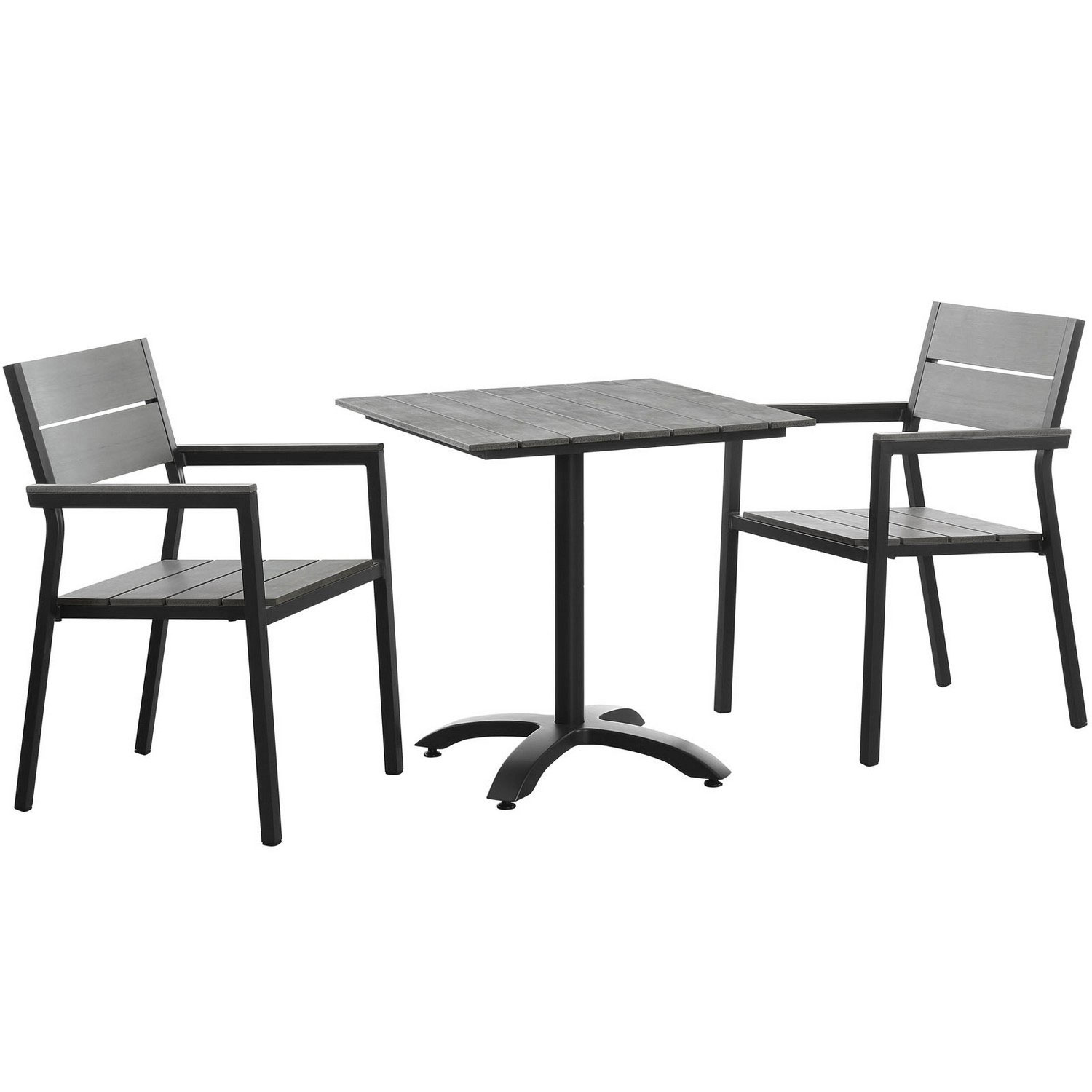 Modway Maine 3 Piece Outdoor Patio Dining Set - Brown/Gray