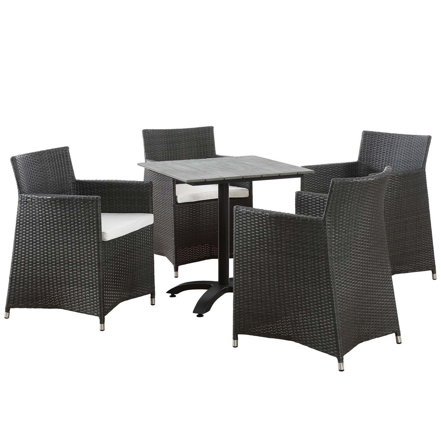 Modway Junction 5 Piece Outdoor Patio Dining Set - Brown/White