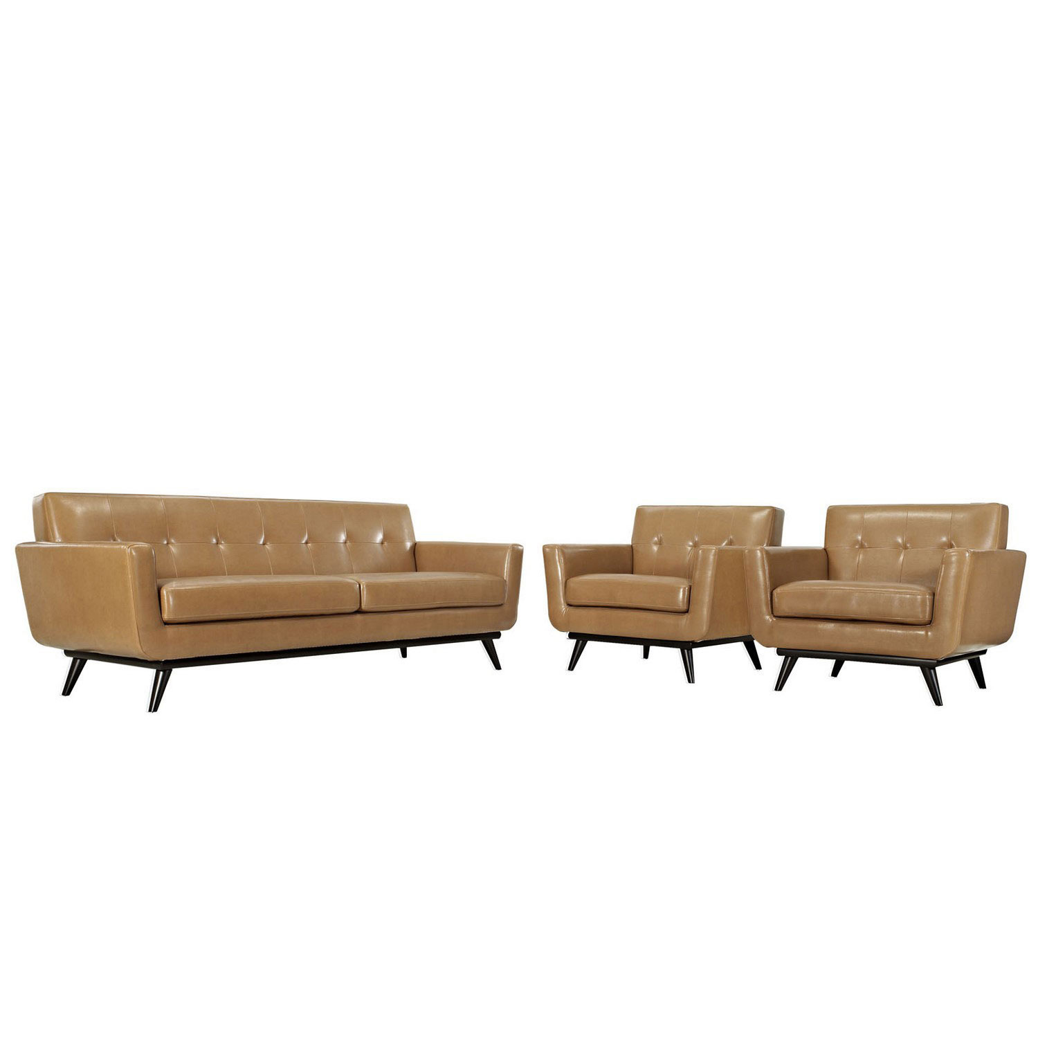 Modway Engage 3 Piece Leather Living Room Set - Tan