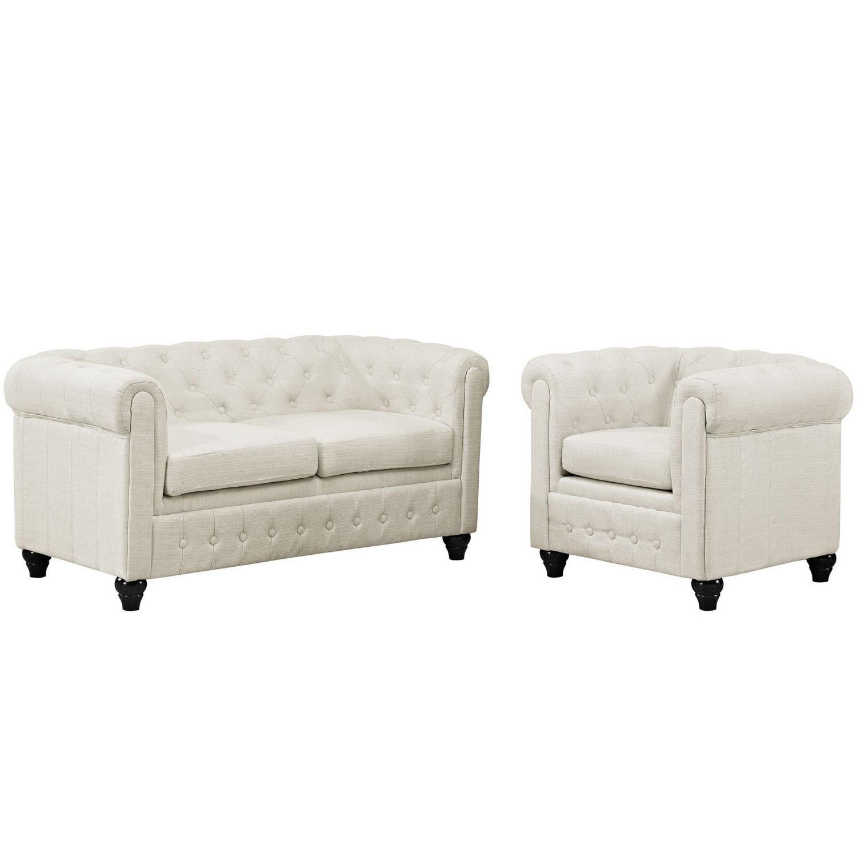 Modway Earl 2 Piece Fabric Living Room Set - Beige MW-EEI-1777-BEI ...