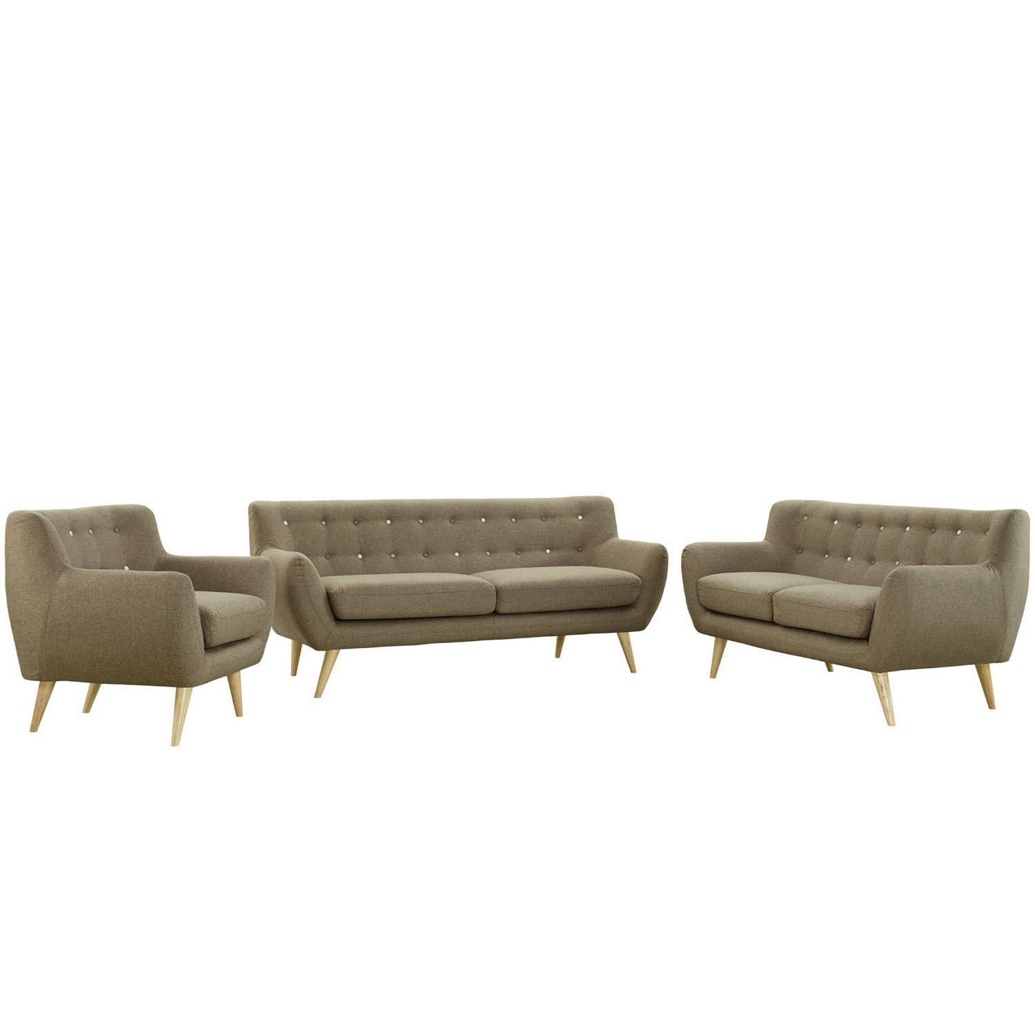 Modway Remark 3 Piece Living Room Set - Brown
