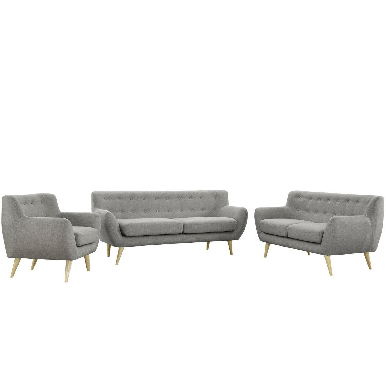 Modway Remark 3 Piece Living Room Set - Light Gray