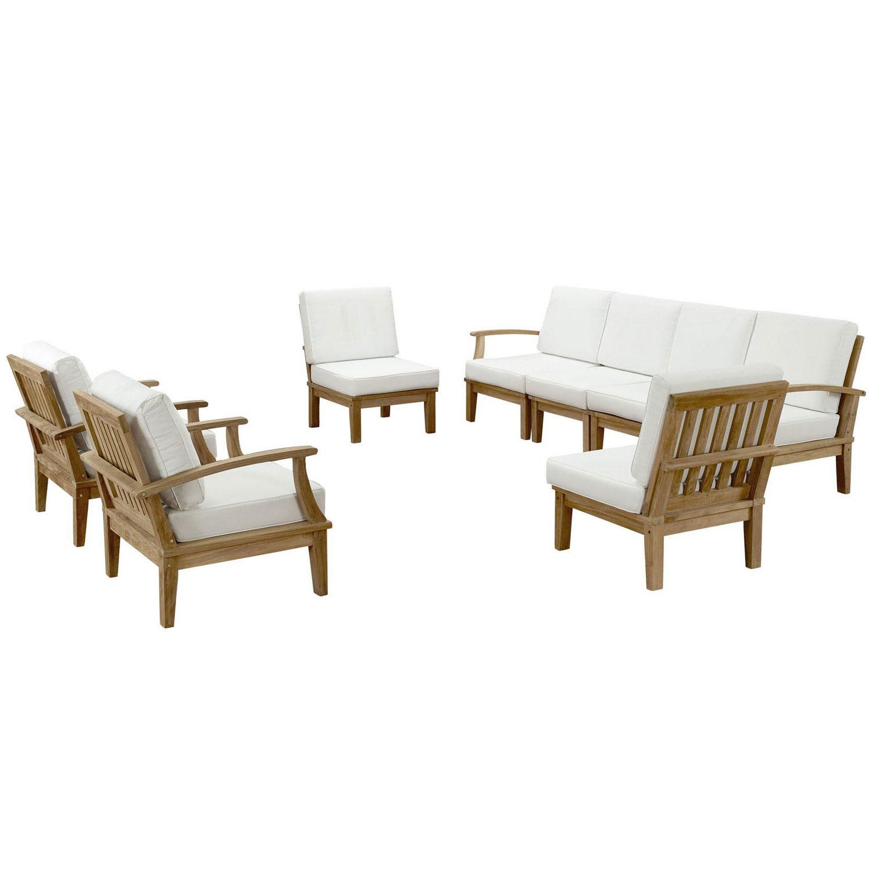 Modway Marina 8 Piece Outdoor Patio Teak Sofa Set - Natural White