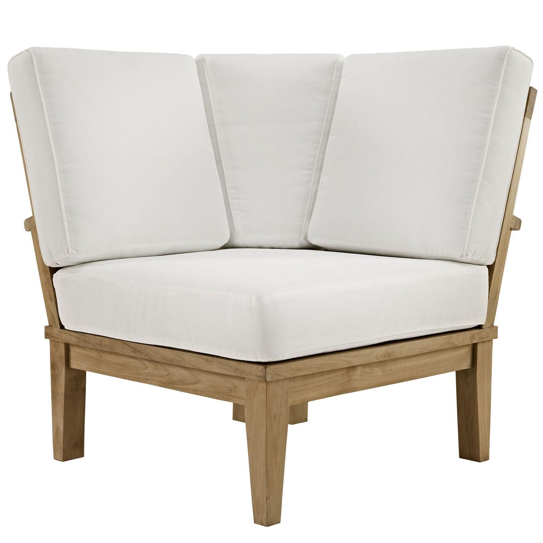 Modway Marina 3 Piece Outdoor Patio Teak Sofa Set - Natural White