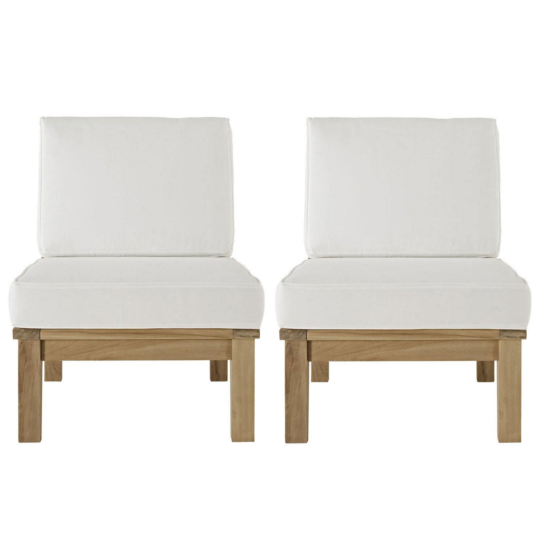 Modway Marina 2 Piece Outdoor Patio Teak Sofa Set - Natural White