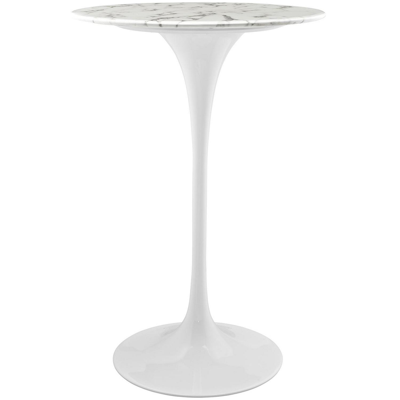 Modway Lippa 28-inch Artificial Marble circular Bar Table - White