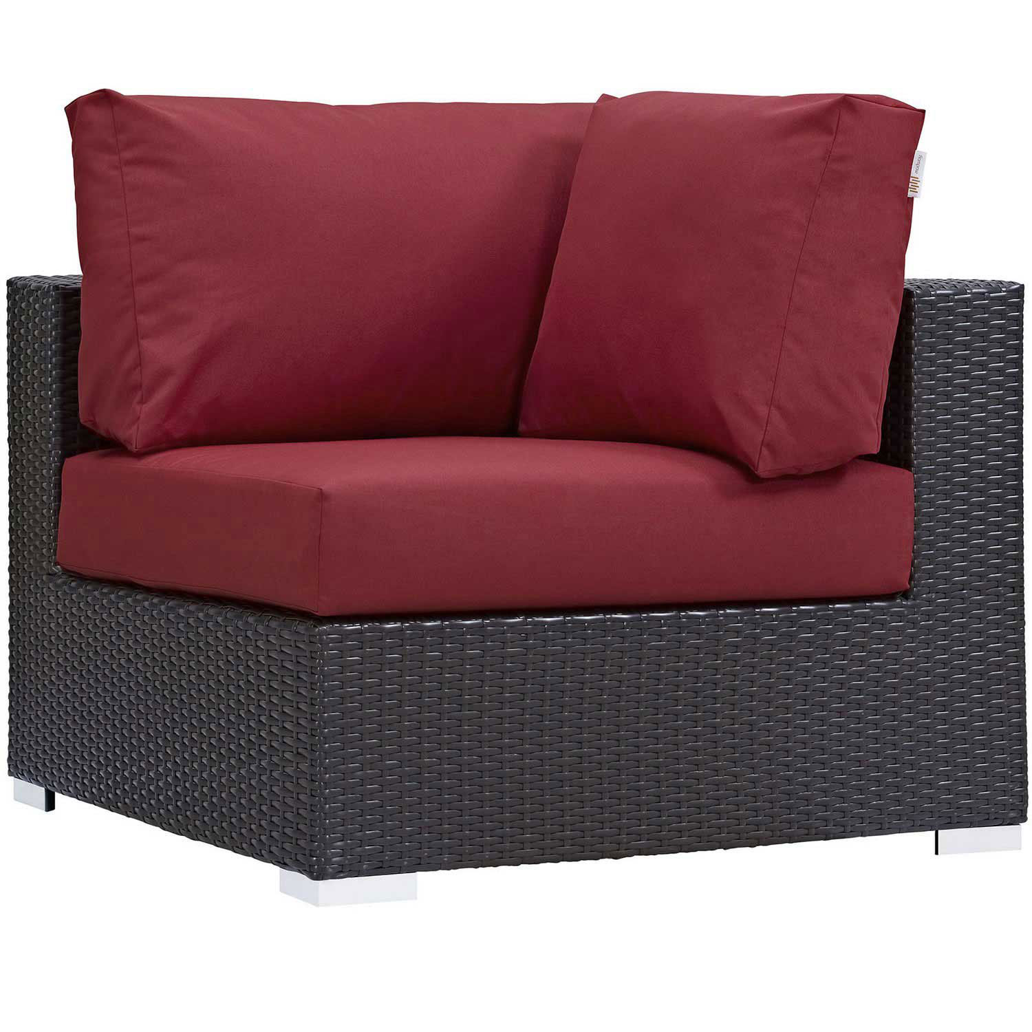 Modway Convene Outdoor Patio Corner - Espresso Red