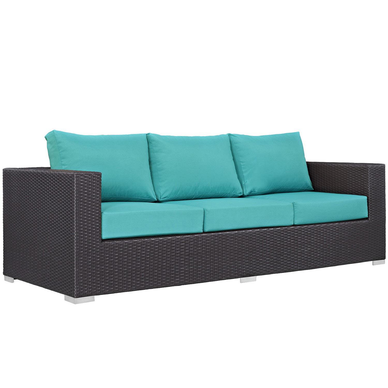 Modway Convene Outdoor Patio Sofa - Espresso Turquoise