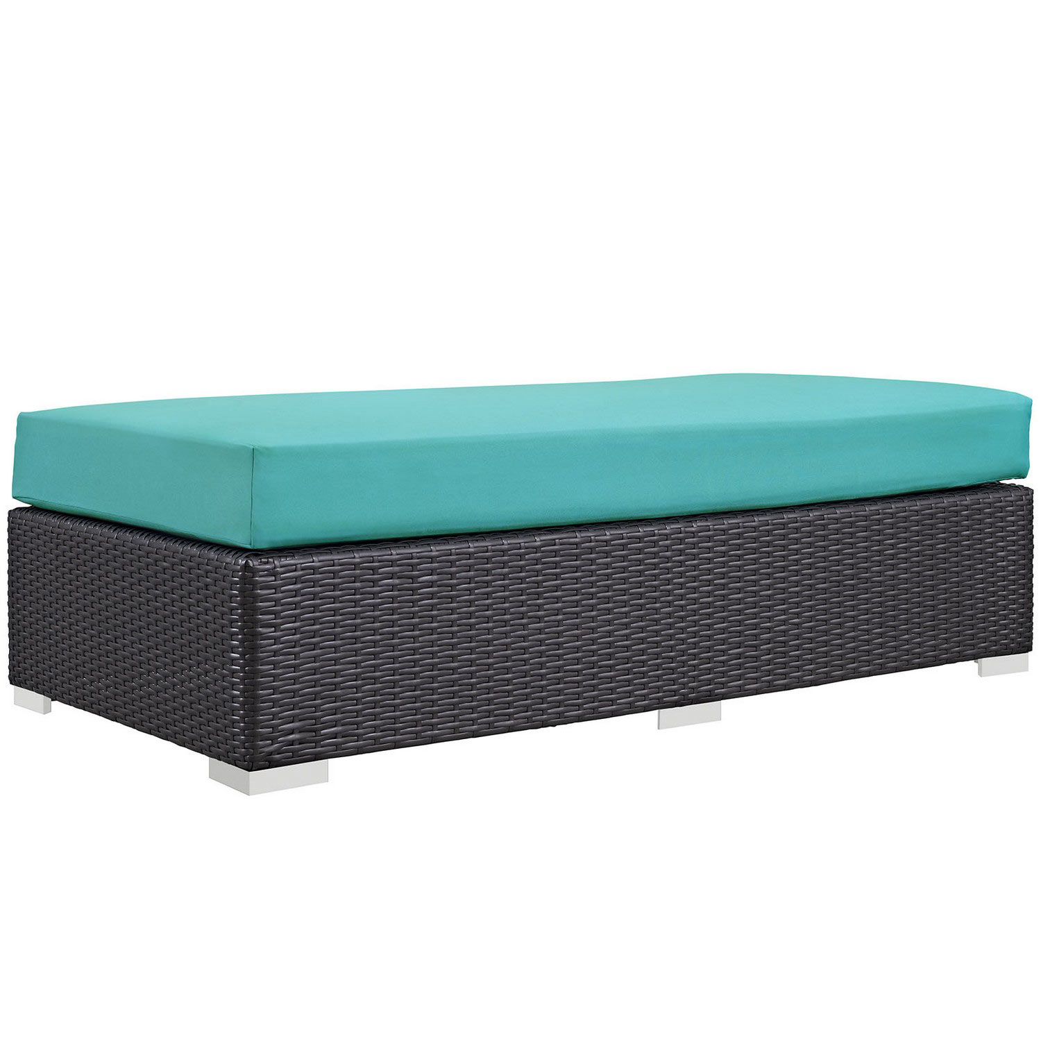 Modway Convene Outdoor Patio Fabric Rectangle Ottoman - Espresso Turquoise