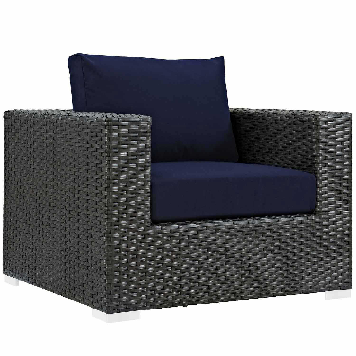 Modway Sojourn Outdoor Patio Sunbrella Arm Chair - Canvas Navy