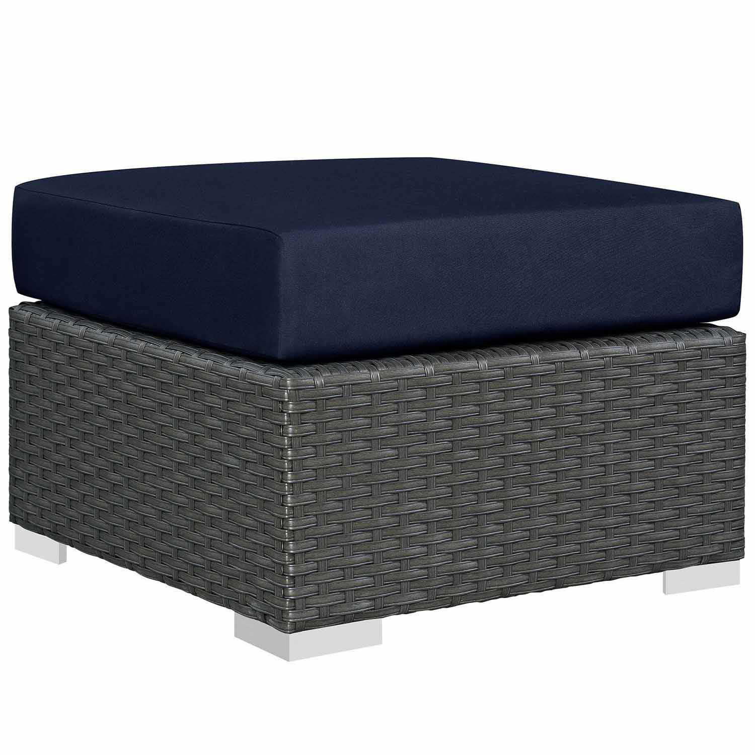 Modway Sojourn Outdoor Patio Sunbrella Ottoman - Canvas Navy