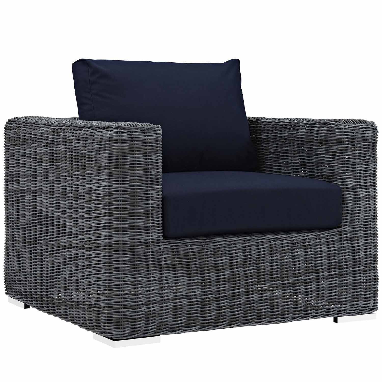 Modway Summon Outdoor Patio Fabric Sunbrella Arm Chair - Canvas Navy