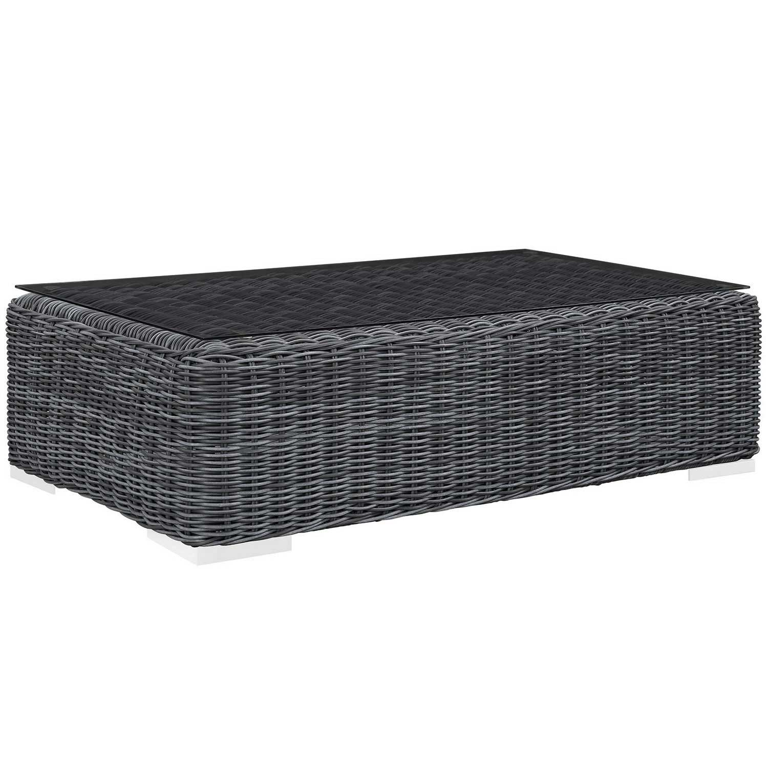 Modway Summon Outdoor Patio Glass Top Coffee Table - Gray