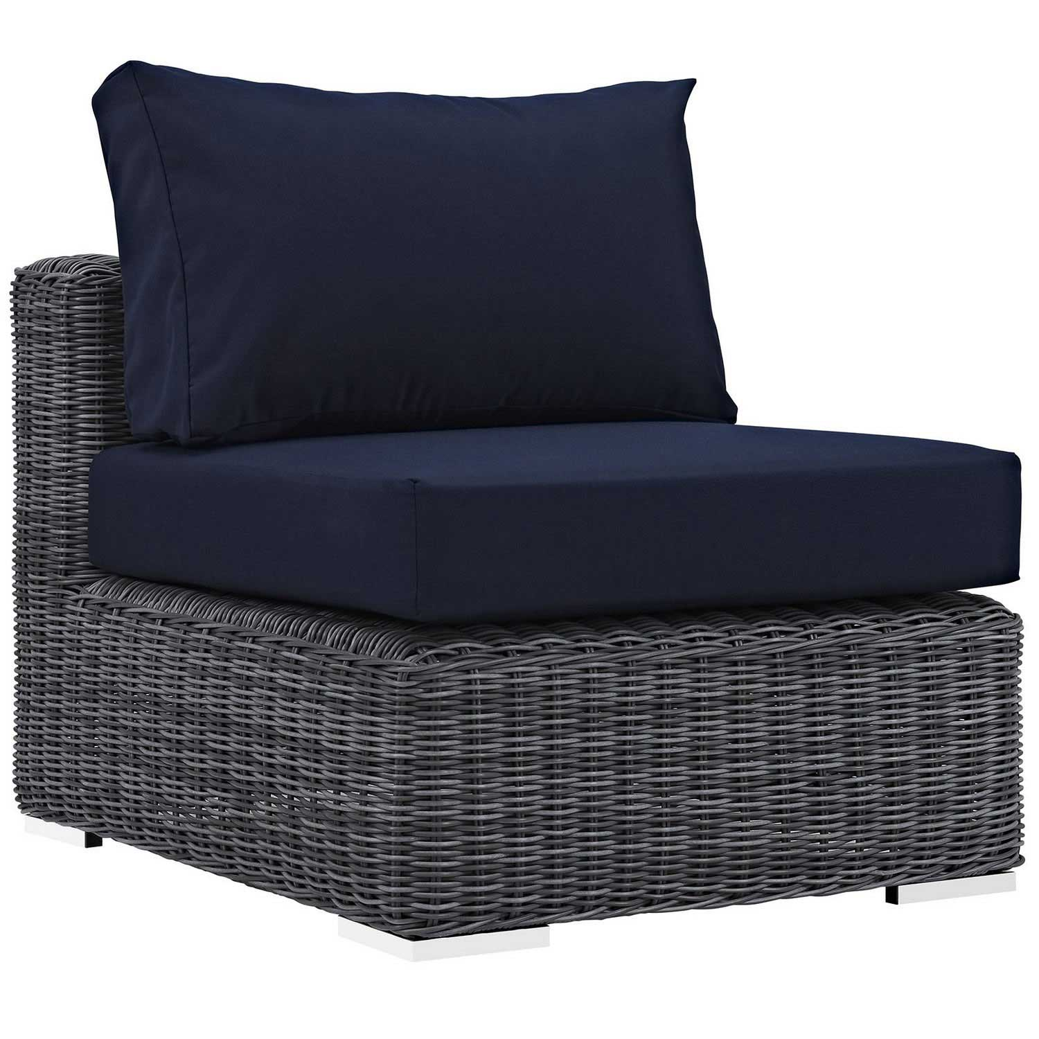 Modway Summon Outdoor Patio Sunbrella Armless - Canvas Navy