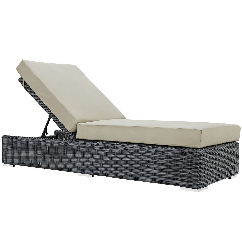Modway Summon Outdoor Patio Sunbrella Chaise Lounge - Canvas Antique Beige