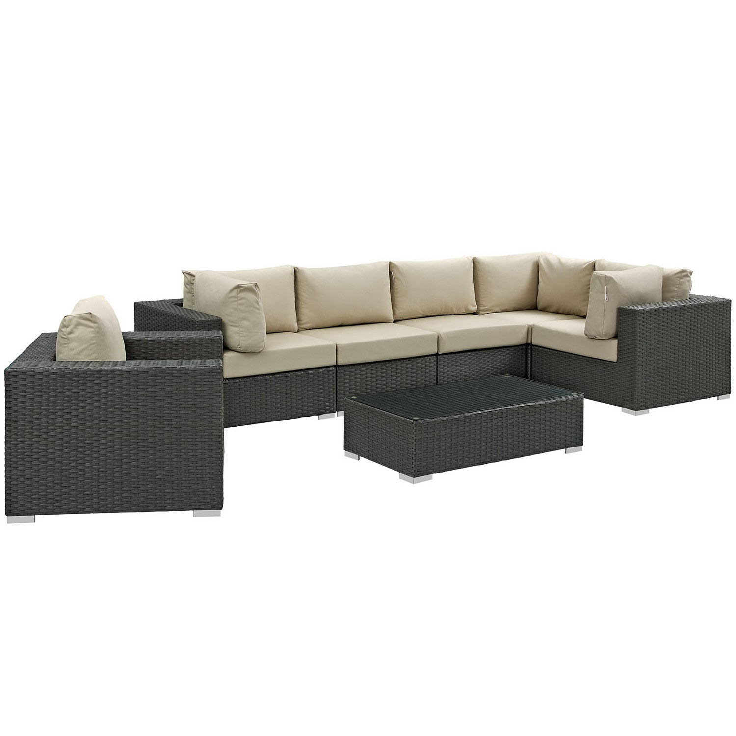 Modway Sojourn 7 Piece Outdoor Patio Sunbrella Sectional Set - Canvas Antique Beige