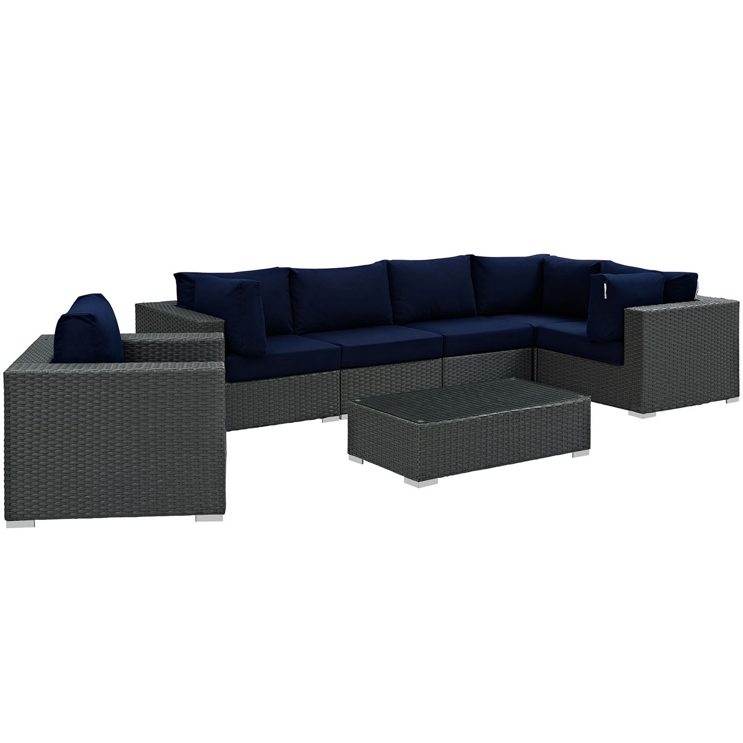 Modway Sojourn 7 Piece Outdoor Patio Sunbrella Sectional Set - Canvas Navy