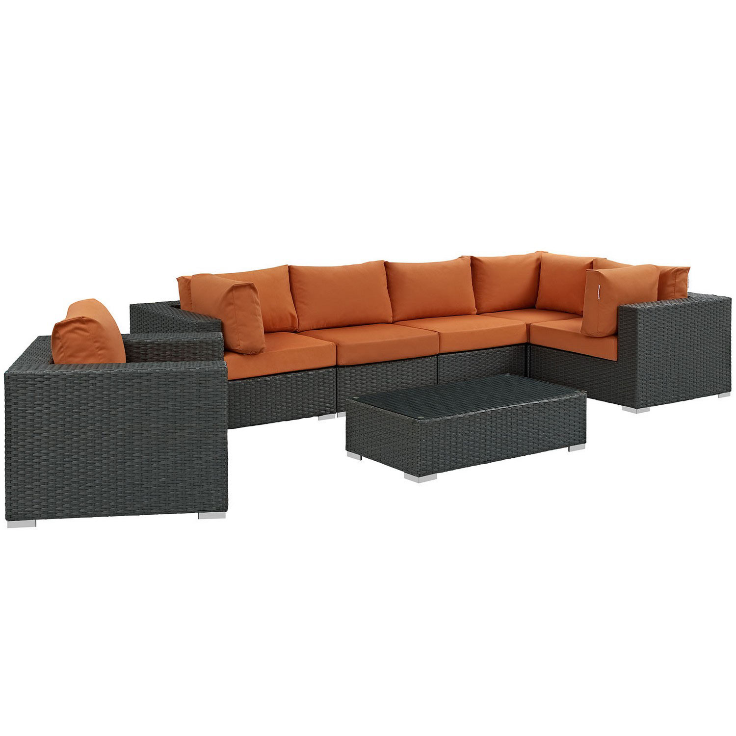 Modway Sojourn 7 Piece Outdoor Patio Sunbrella Sectional Set - Canvas Tuscan