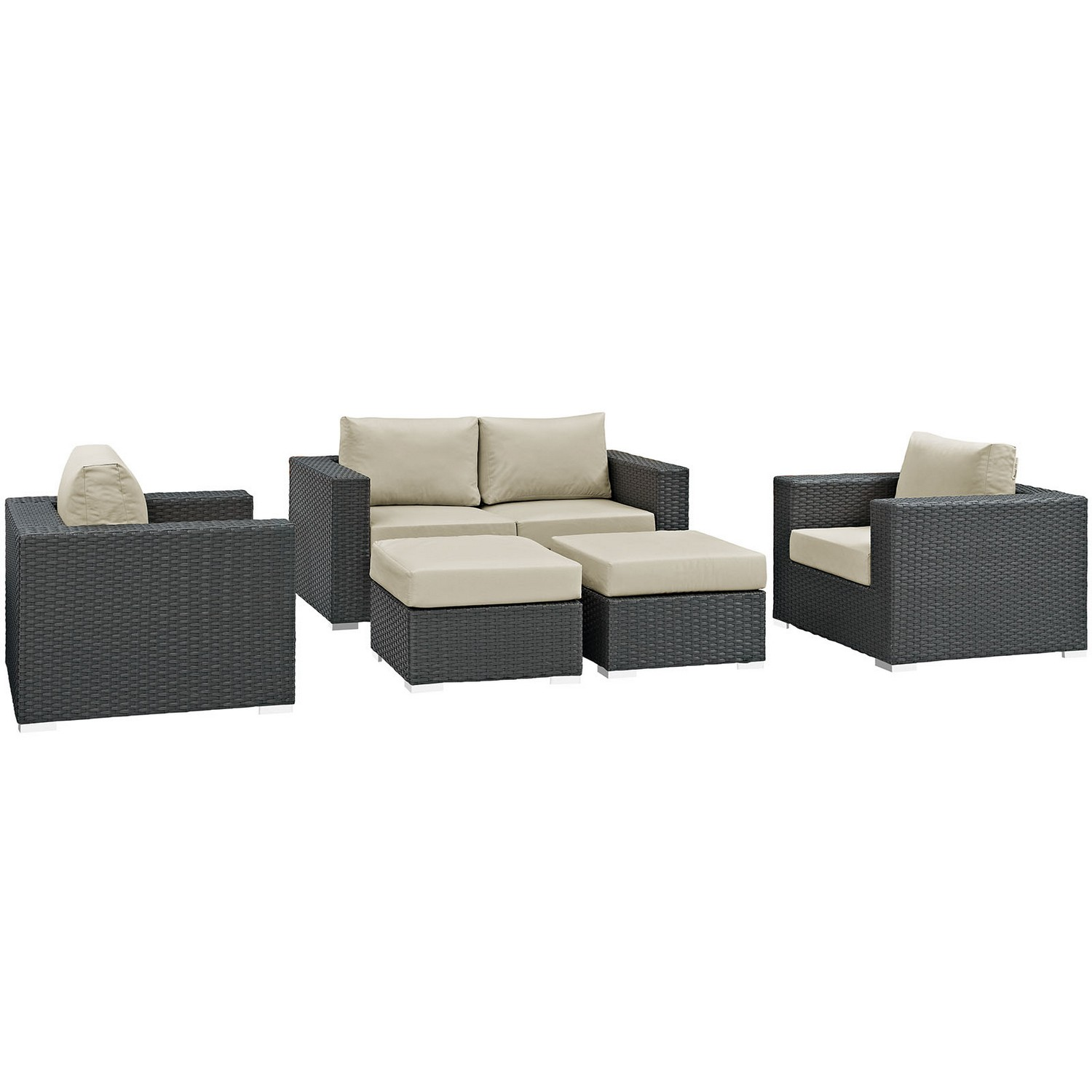 Modway Sojourn 5 Piece Outdoor Patio Sunbrella Sectional Set - Canvas Antique Beige
