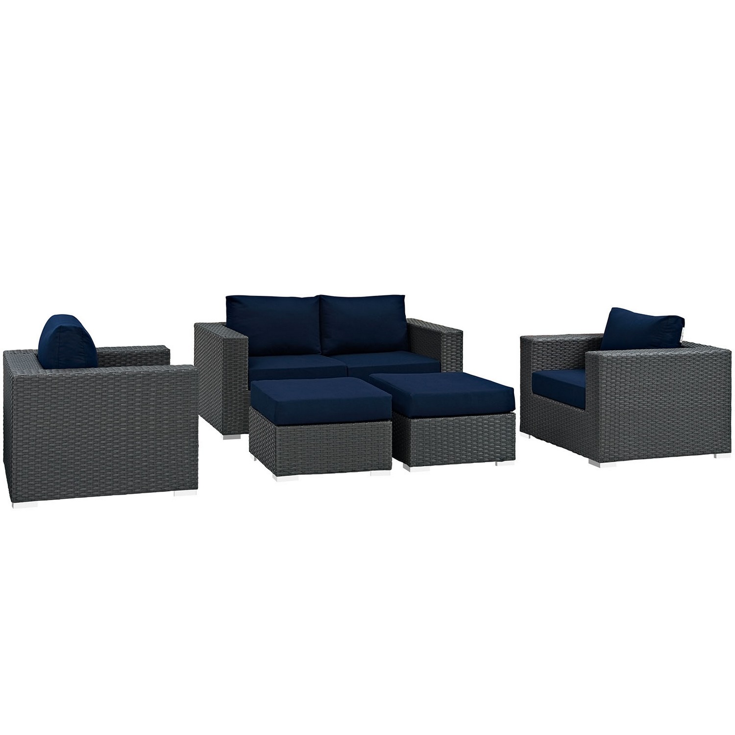 Modway Sojourn 5 Piece Outdoor Patio Sunbrella Sectional Set - Canvas Navy