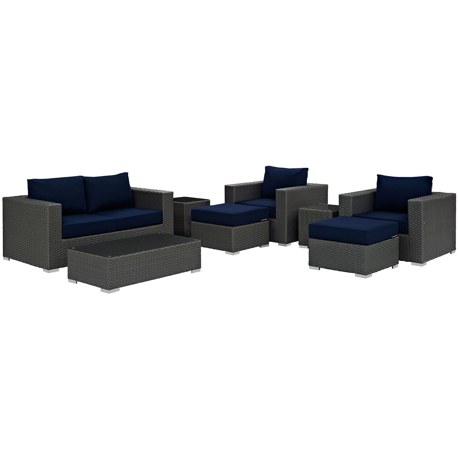 Modway Sojourn 8 Piece Outdoor Patio Sunbrella Sectional Set - Canvas Navy