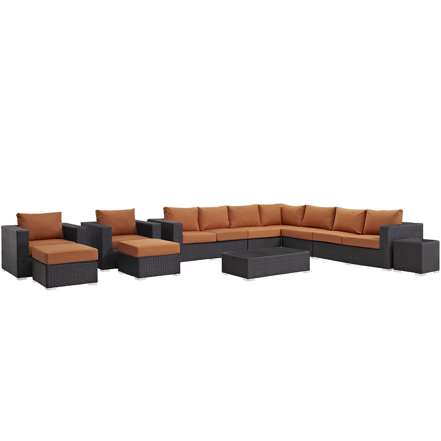 Modway Sojourn 11 Piece Outdoor Patio Sunbrella Sectional Set - Canvas Tuscan