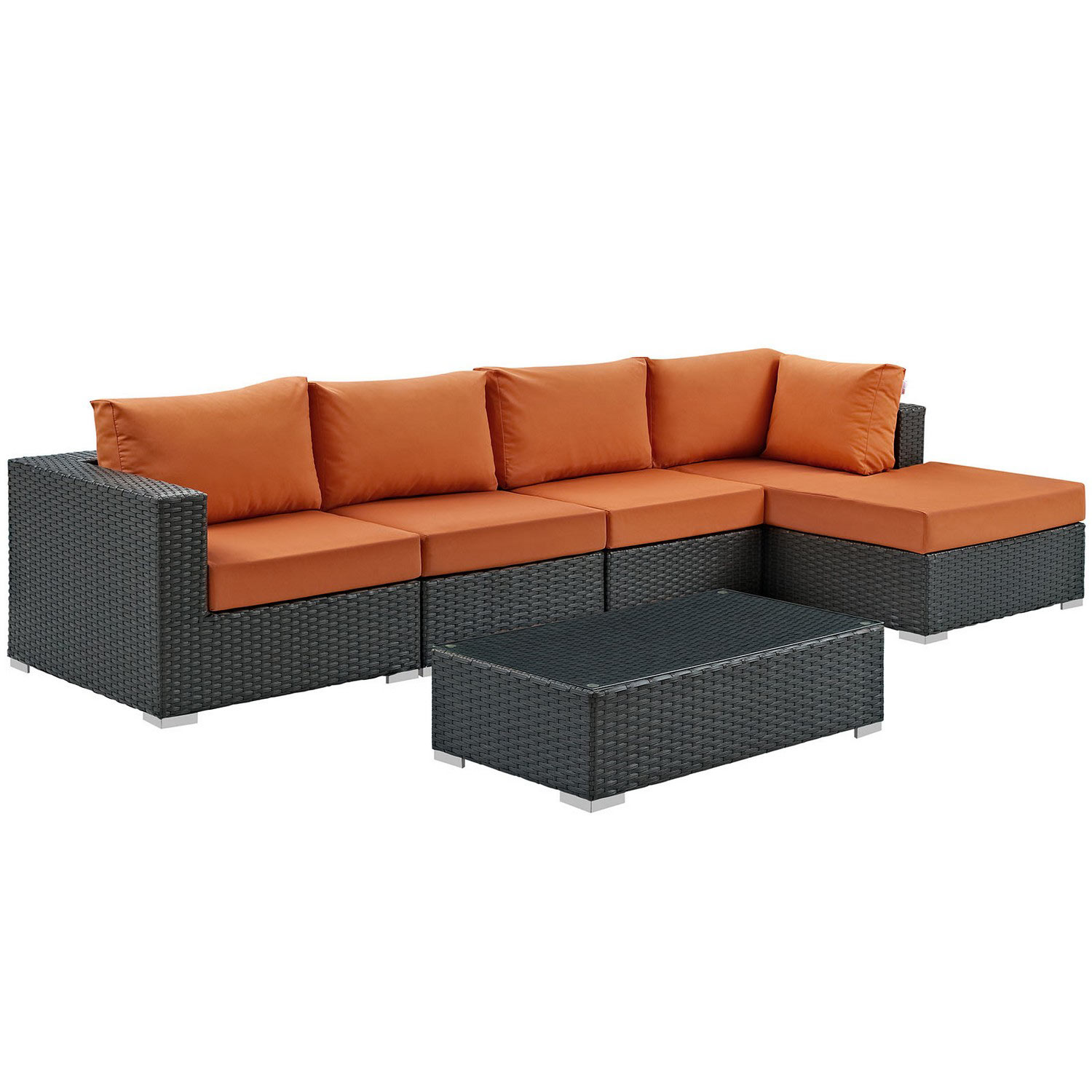 Modway Sojourn 5 Piece Outdoor Patio Sunbrella Sectional