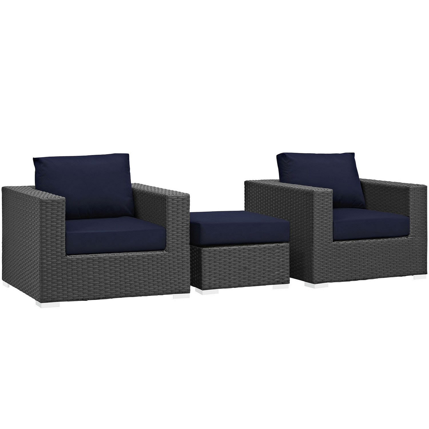 Modway Sojourn 3 Piece Outdoor Patio Sunbrella Sectional Set - Canvas Navy