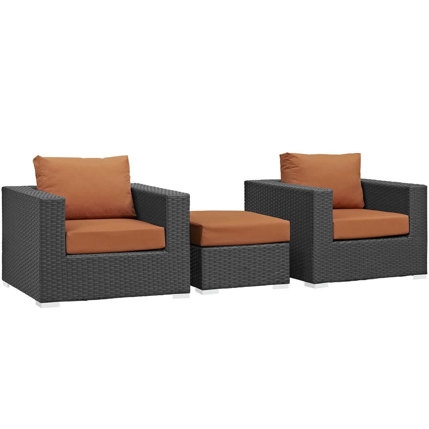Modway Sojourn 3 Piece Outdoor Patio Sunbrella Sectional Set - Canvas Tuscan