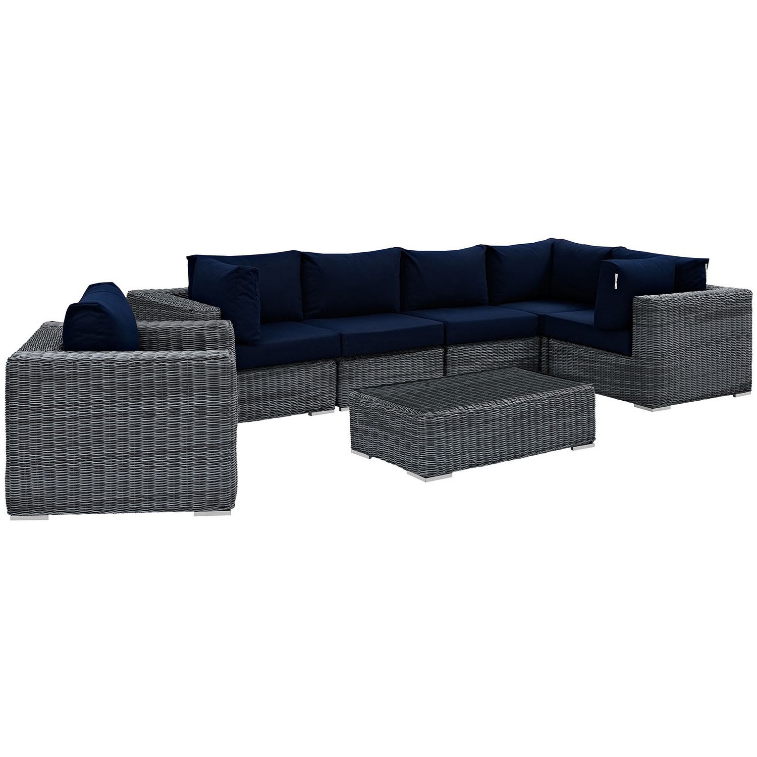 Modway Summon 7 Piece Outdoor Patio Sunbrella Sectional Set - Canvas Navy