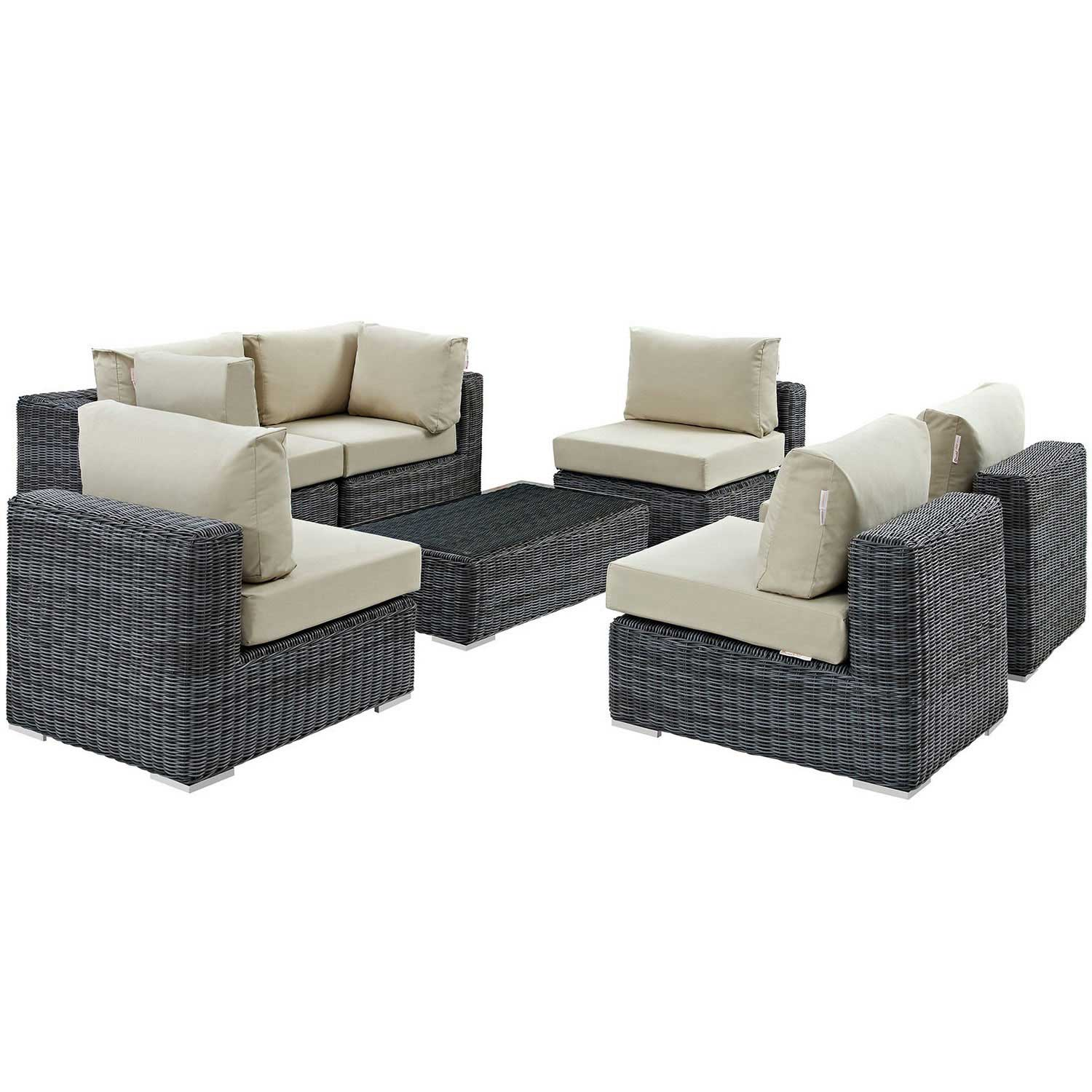 Modway Summon 7 Piece Outdoor Patio Sunbrella Sectional Set - Canvas Antique Beige