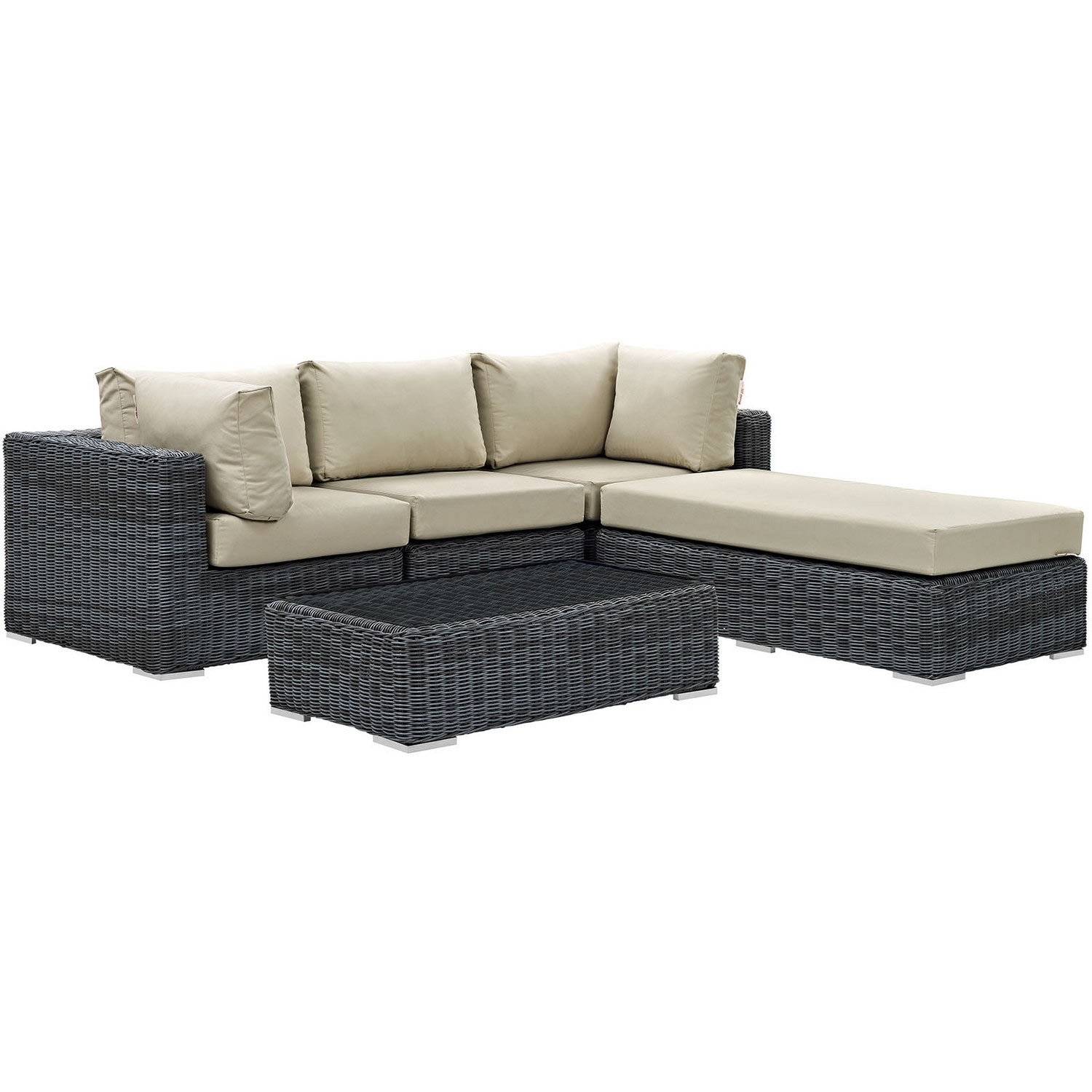 Modway Summon 5 Piece Outdoor Patio Sunbrella Sectional Set - Canvas Antique Beige